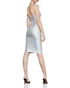 BCBGMAXAZRIA - Faux-Croc Metallic Strapless Dress