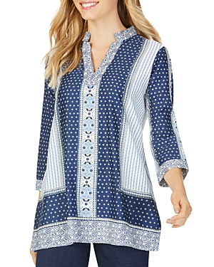 Foxcroft Tops ANGELICA SCARF-PRINT TUNIC TOP