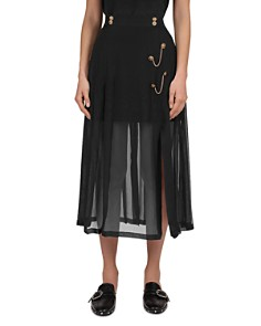 The Kooples - Chain-Trimmed Silk Illusion Midi Skirt