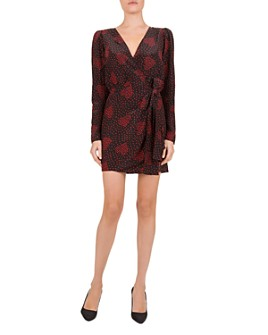 The Kooples - Heart-Print Wrap Dress