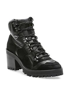 The Kooples - Women's Mixed Media Block Heel Combat Boots