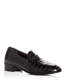 Giuseppe Zanotti - Men's Croc-Embossed Leather Apron-Toe Loafers