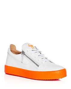 Giuseppe Zanotti - Men's Frankie Fluo Leather Low-Top Sneakers