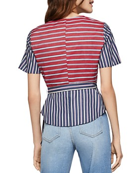 fa20e9b79f1b BCBGENERATION - Mixed Stripe Surplice Top BCBGENERATION - Mixed Stripe  Surplice Top