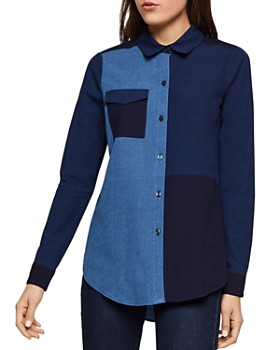 BCBGENERATION - Color-Block Patchwork Chambray Shirt