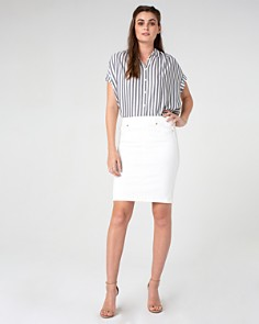 Liverpool - Denim Pull-On Skirt in Bright White