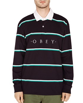 633c318178 OBEY - Washer Long-Sleeve Striped Classic Fit Polo Shirt ...
