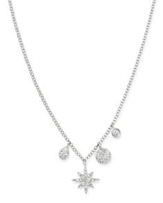 """Meira T - 14K White Gold Diamond Starburst Necklace, 18"""""""