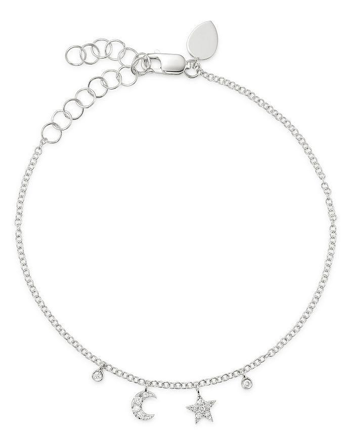 Meira T - 14K White Gold Diamond Moon & Star Bracelet
