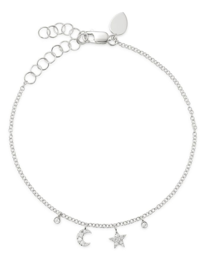 Meira T 14K White Gold Diamond Moon & Star Bracelet  | Bloomingdale's