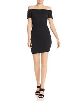 AQUA - Smocked Off-the-Shoulder Mini Dress - 100% Exclusive