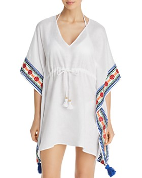 69dafd04ef5f5 Tory Burch - Ravena Embroidered Linen Beach Caftan Swim Cover-Up ...