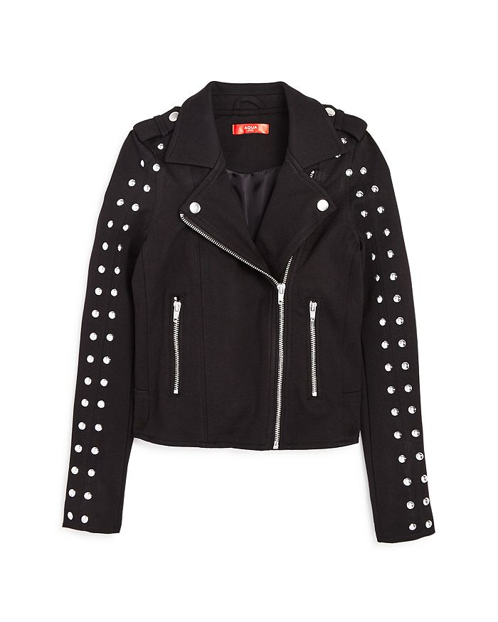 AQUA - Girls' Studded Ponte Moto Jacket, Big Kid - 100% Exclusive