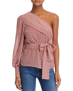 C/MEO Collective - Collective Counting All One-Shoulder Plaid Top