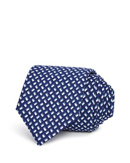 Theory - Geometric Print Silk Skinny Tie