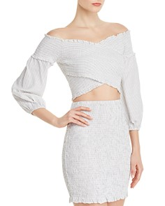 GUESS - Trixie Smocked Off-the-Shoulder Top