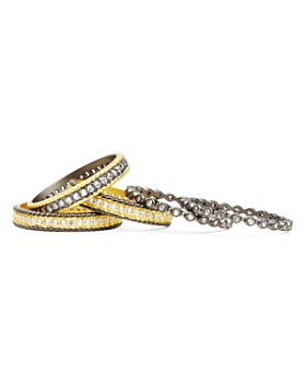 Freida Rothman - Classic Stackable Rings in 14K Gold-Plated & Rhodium-Plated Sterling Silver, Set of 5