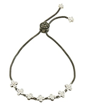 Freida Rothman - Adjustable Clover Strand Bracelet in Rhodium-Plated & Platinum-Plated Sterling Silver