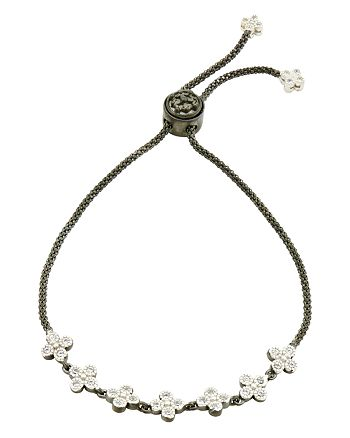 Freida Rothman - Adjustable Clover Strand Bracelet in Rhodium-Plated & Platinum-Plated Sterling Silver