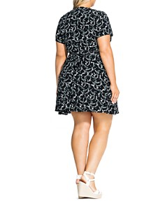 City Chic Plus - Button-Front Floral-Print Dress