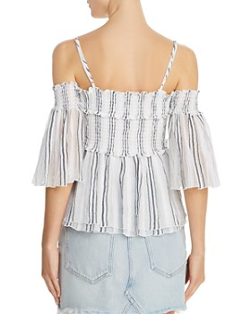 0a51dd5882d64b ... ATM Anthony Thomas Melillo - Striped Cold-Shoulder Top