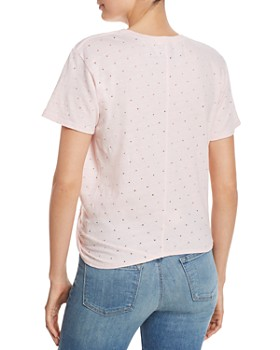 Enza Costa - Perforated Twist-Front Tee