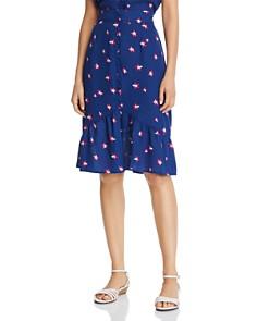 AQUA - Button Detail Floral Midi Skirt - 100% Exclusive