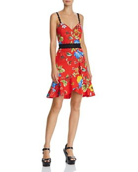 d39caff68992c Alice and Olivia - Kirby Lace-Trim Ruffled Floral Dress ...