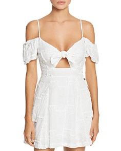 Surf Gypsy - Tie-Front Cold Shoulder Mini Dress Swim Cover-Up