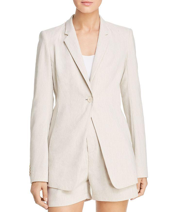Elie Tahari Hillary One-Button Blazer In Putty Melange
