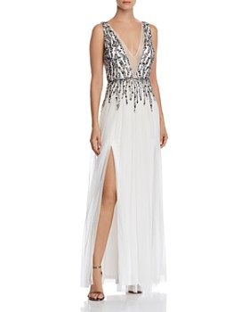 Aidan by Aidan Mattox - Plunging Embellished Gown