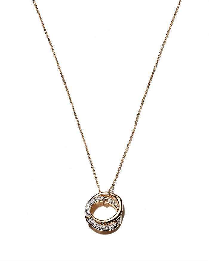 JOHN HARDY - 18K Yellow Gold Bamboo Pendant Necklace with Diamonds, 16""