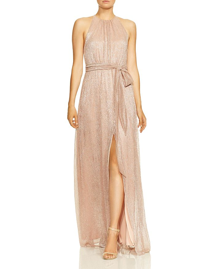 HALSTON HERITAGE - High-Neck Metallic Gown