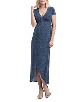Nom Maternity - Delilah Dotted Faux Wrap Maxi Dress