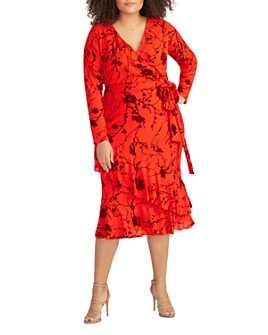 Rachel Roy Plus - Coco Flocked Floral Wrap Dress
