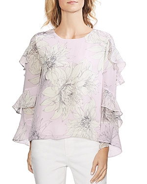 Vince Camuto Tops PAGODA BLOSSOMS RUFFLE-SLEEVE TOP