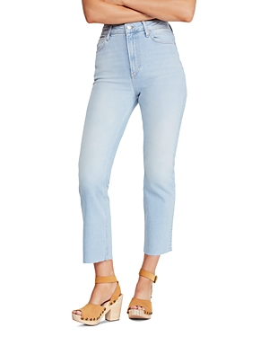 Free People High-Rise Straight-Leg Jeans in Light Denim