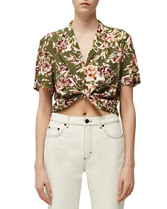 FRENCH CONNECTION - Floriana Printed Tie-Front Cropped Top