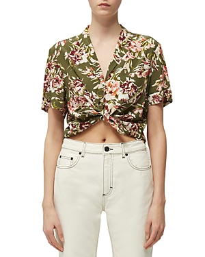 French Connection Floriana Printed Tie-Front Cropped Top