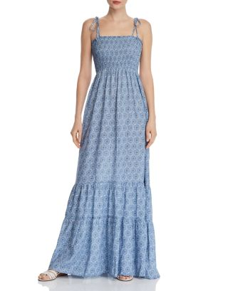 Medallion Smocked Maxi Dress   100 Percents Exclusive by Aqua