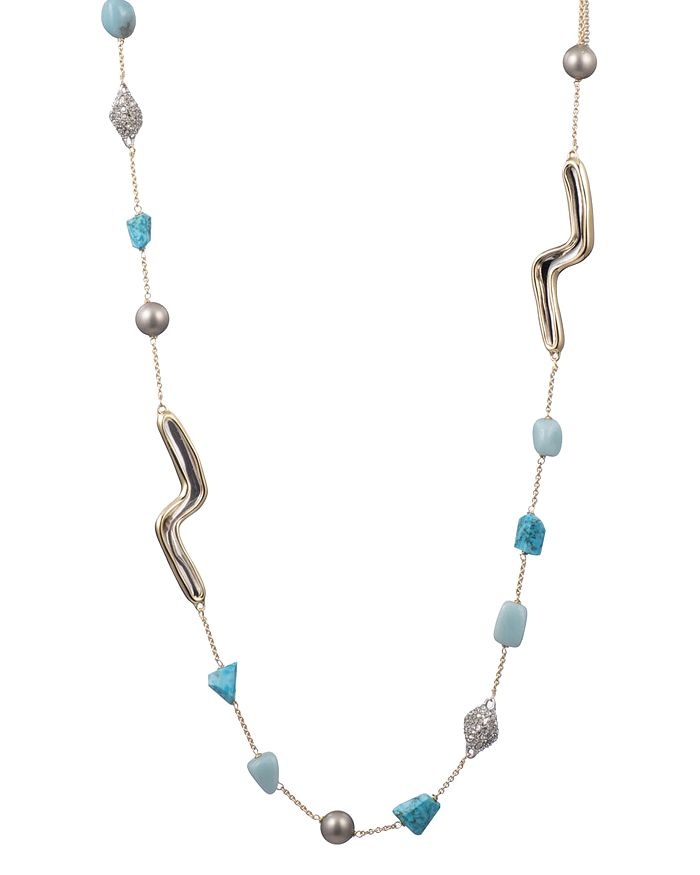 """Alexis Bittar - Multi-Stone Station Necklace, 42"""""""