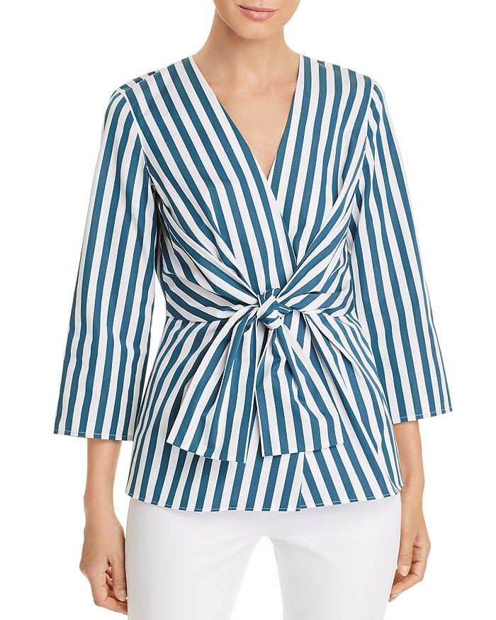 Lafayette 148 New York - Dayana Striped Tie-Front Blouse