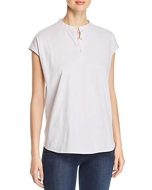 Eileen Fisher Tops STRIPED QUARTER-PLACKET TOP