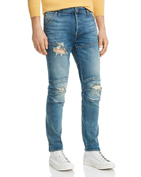 G-STAR RAW - 5620 3D Slim Fit Jeans in Medium Aged Ripped