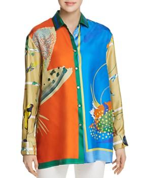 22a7512b6b83 Weekend Max Mara - Cabina Color-Blocked & Printed Silk Blouse ...