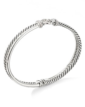 David Yurman - Sterling Silver Cable Buckle Two-Row Bracelet with Diamonds