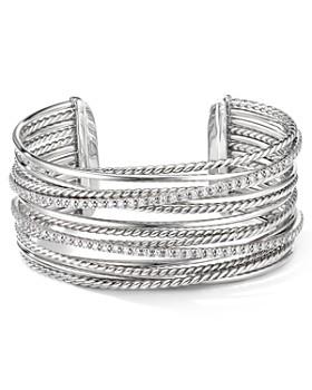582ae9e0ebc5f David Yurman - Sterling Silver Crossover Cuff Bracelet with Diamonds ...