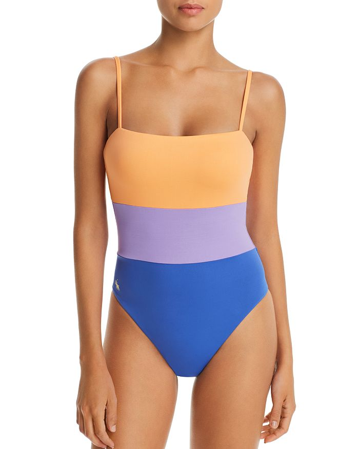 1f20f4d7a1 Ralph Lauren Modern Solid Color-Blocked Lace Back One Piece Swimsuit ...