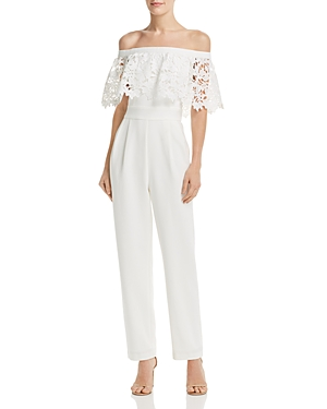 Eliza J Suits OFF-THE-SHOULDER JUMPSUIT