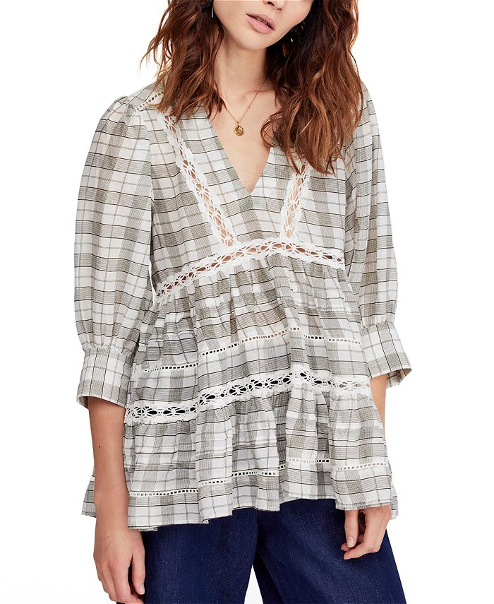 Free People - Time Out Plaid Crochet Trim Tunic